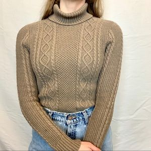 Jeanne Pierre tan cable knit turtleneck sweater